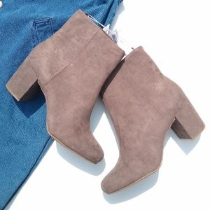 Old Navy • taupe block heel studded booties